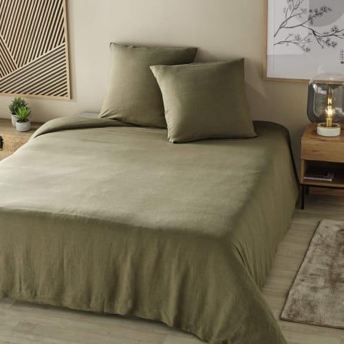 parure de lit en lin lav vert kaki 220x240 maisons du monde. Black Bedroom Furniture Sets. Home Design Ideas