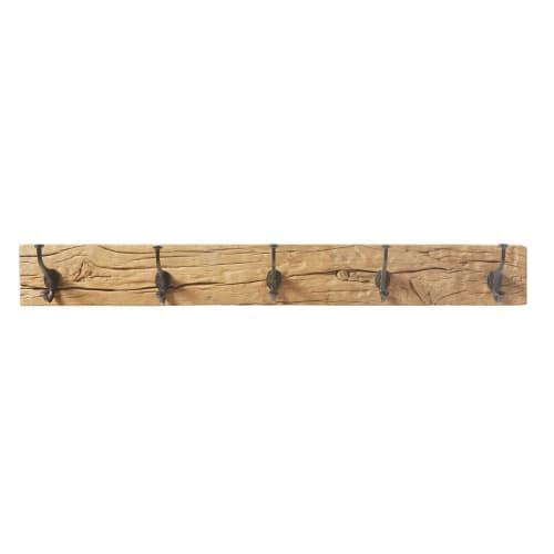 Patère 10 crochets en bois recyclé et métal noir  Maisons du Monde