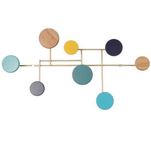 Patère en métal doré 10 crochets multicolores  Maisons du Monde