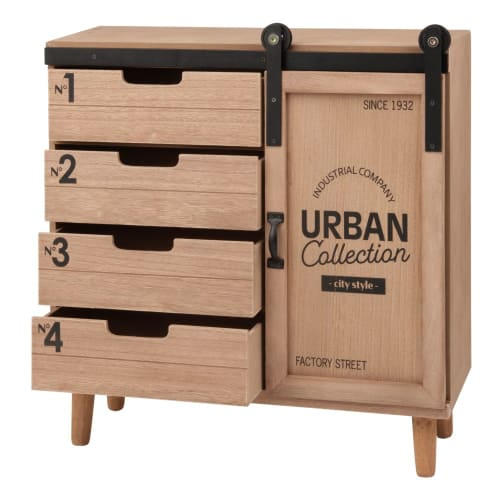 Petit meuble de rangement 1 porte 4 tiroirs imprimé Woburn   Maisons du Monde