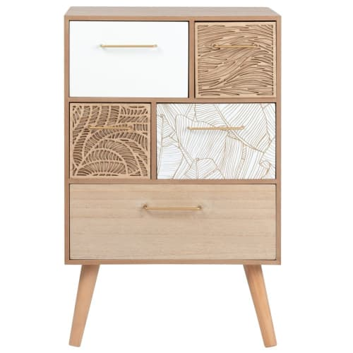 Foliage Petit meuble de rangement 5 tiroirs à motifs