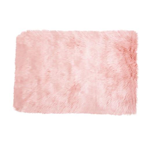 Pink Faux Fur Rug 80x120 Blush