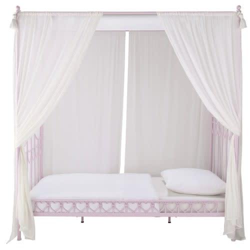 Letti La Maison Du Monde.Pink Metal 90x190 Four Poster Bed