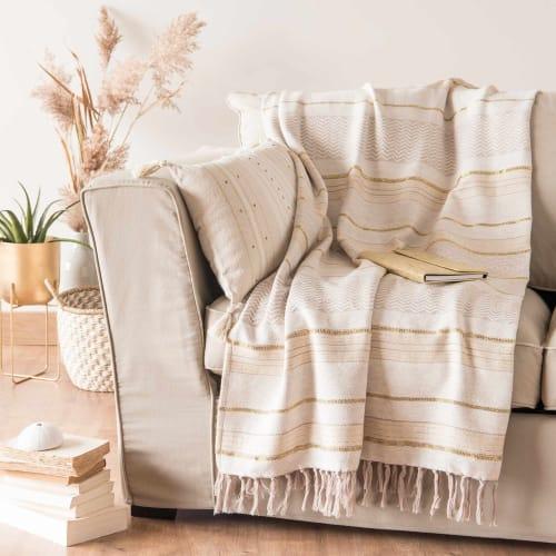 Plaid en coton motifs à rayures 9x9  Maisons du Monde