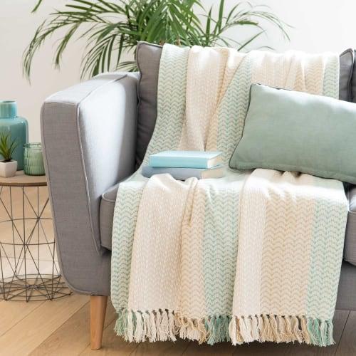 Plaid en coton motifs à rayures 180x240 | Maisons du Monde