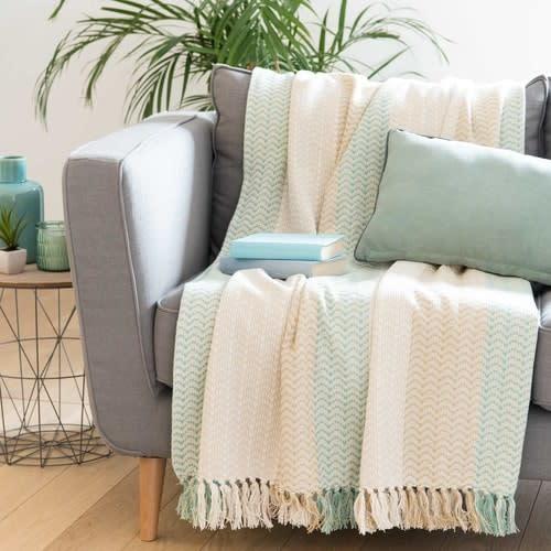 Plaid en coton motifs à rayures 180x240