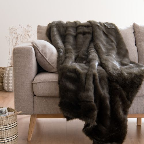 superior quality 31a3d ca91b Plaid in pelliccia ecologica marrone, 150x180 cm