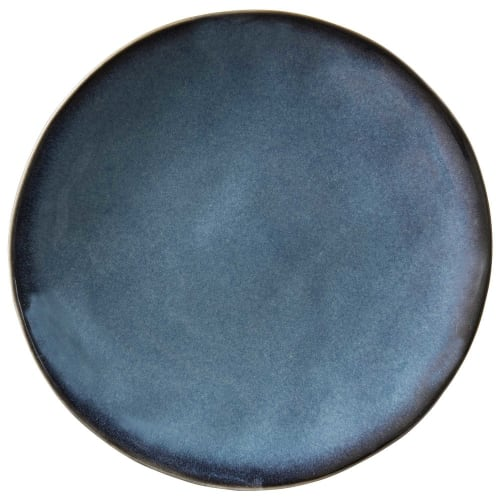Plat bord van blauw aardewerk