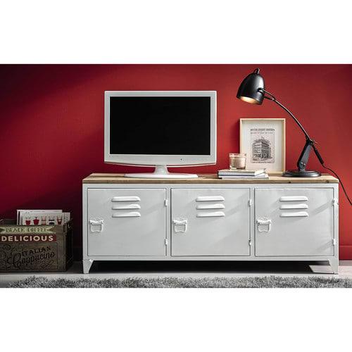 Porta Tv Stile Industriale.Porta Tv Stile Industriale Bianco In Metallo E Abete