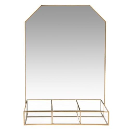 Porte-bijoux miroir en métal doré