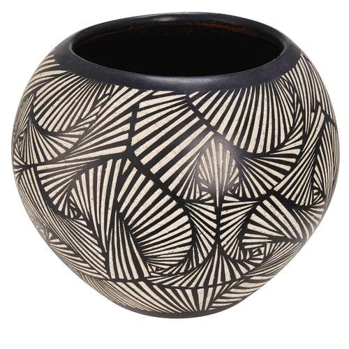 Pot de jardin en terre cuite motifs noirs et blancs H.38cm