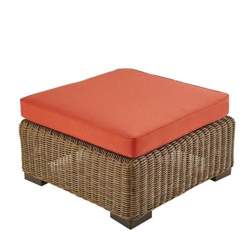 Pouf da giardino in resina intrecciata e cuscino terracotta | Maisons du  Monde