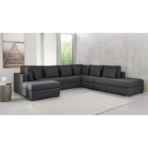 Pouf per il divano modulabile di cotone grigio ardesia for Regalo divano milano