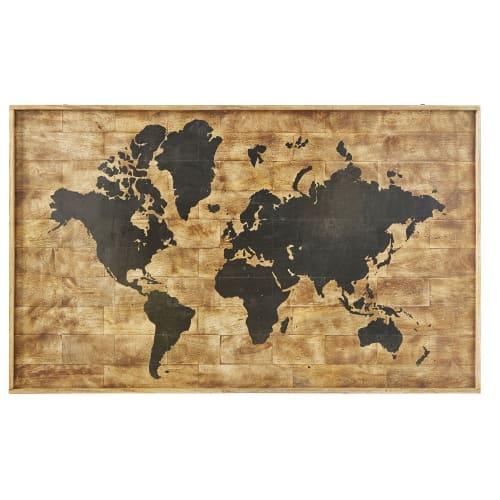 Printed World Map Mango Wood Wall Art 140x87 | Maisons du Monde