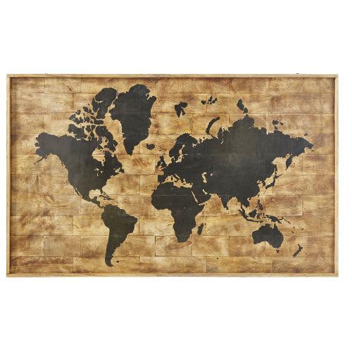 Printed World Map Mango Wood Wall Art 140x87