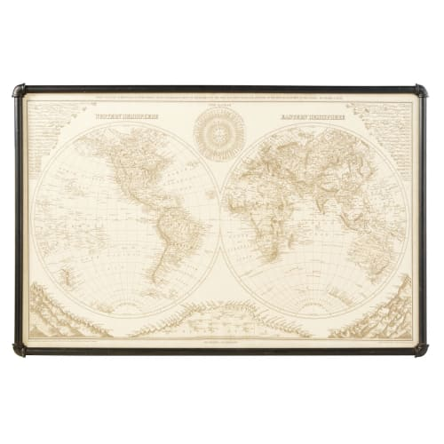 Quadro Cartina Mondo.Quadro Cartina Del Mondo In Metallo Nero 133x87 Cm Cody Maisons Du Monde