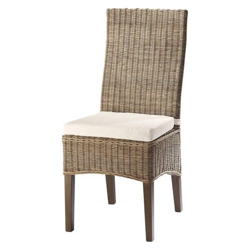 Sedie In Midollino.Rattan And Solid Mahogany Chair