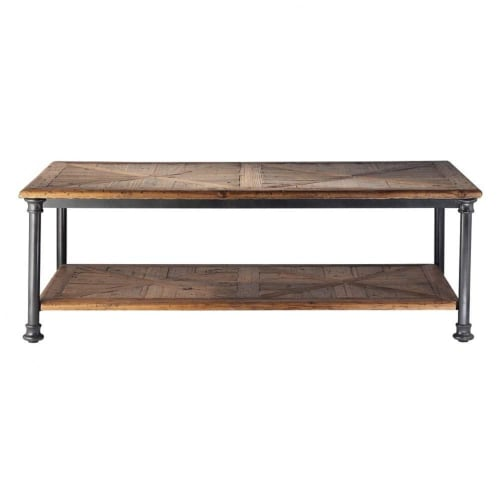 Recycled Pine And Metal Coffee Table Fontainebleau Maisons Du Monde