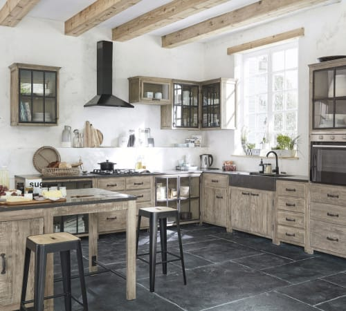 Recycled pine kitchen wall unit with 9 glass door handle on left  Maisons  du Monde