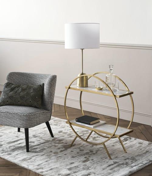 Regal aus goldfarbenem Metall und weißem Marmor ELLIS