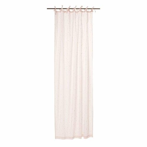rideau a nouettes en coton rose motifs etoiles a l unite 102x250 maisons du monde