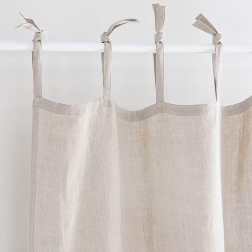 rideau à nouettes en lin lavé beige à l'unité 105x300