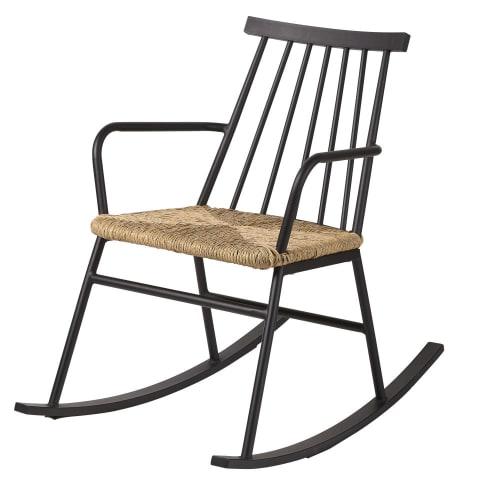 Rocking-chair Tecoma : fauteuil à bascule noir avec assise en résine imitation rotin