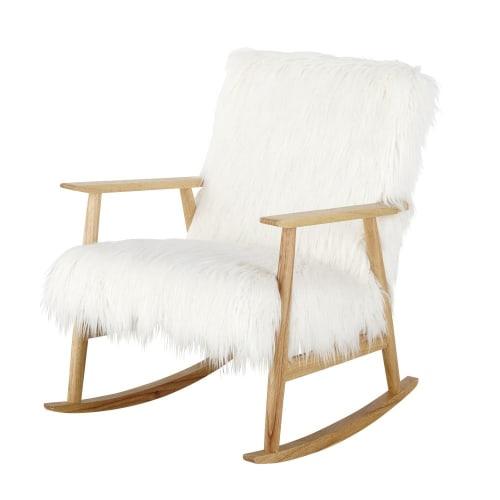 Rocking-chair Hermann : fauteuil à bascule en bois et fausse fourrure