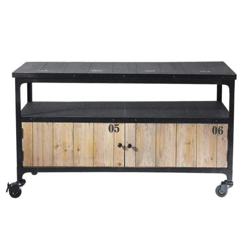 Roll Tv Lowboard Im Industrial Stil Aus Metall Und Holz Schwarz
