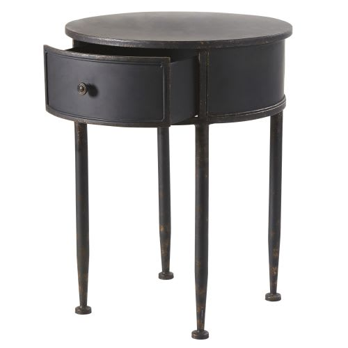 official photos c6f8b 1fb3f Round Black Metal 1-Drawer Bedside Table