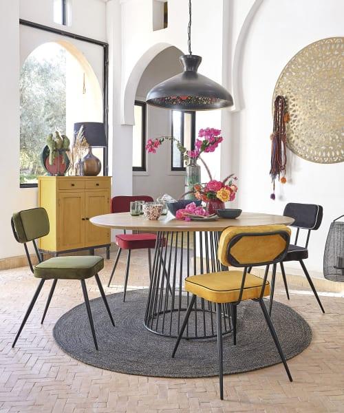 Round Mango Wood 4 6 Seater Dining Table D140 Dolores Maisons Du Monde
