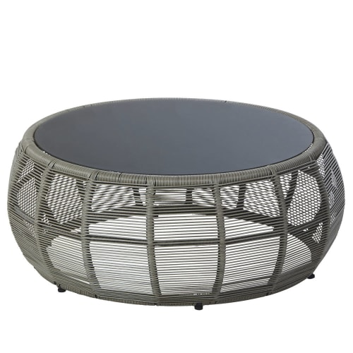 Round Resin Wicker And Grey Glass Garden Coffee Table