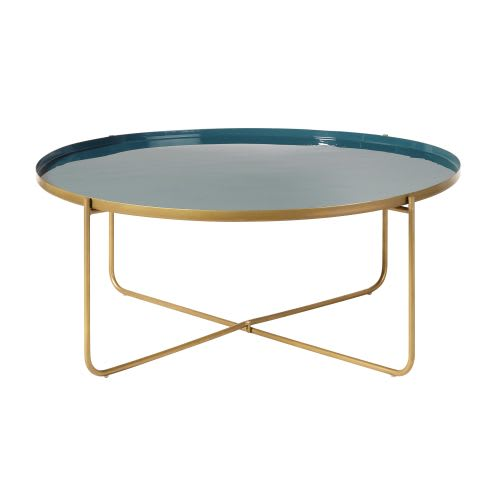 Gold Metal Round Coffee Table.Round Teal And Gold Metal Coffee Table