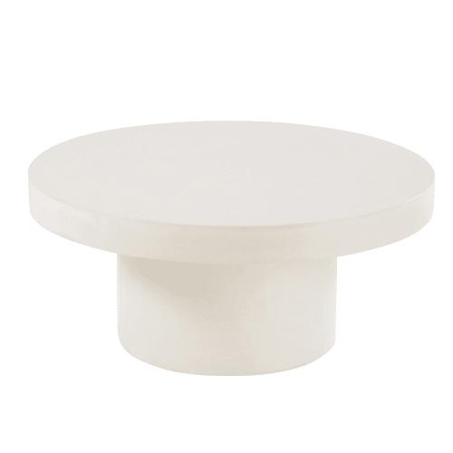 Round White Concrete Garden Coffee Table Polvere Maisons