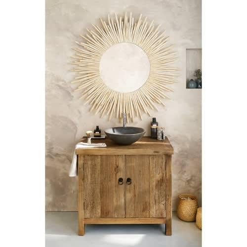 Runder Spiegel aus Treibholz, D 110 cm