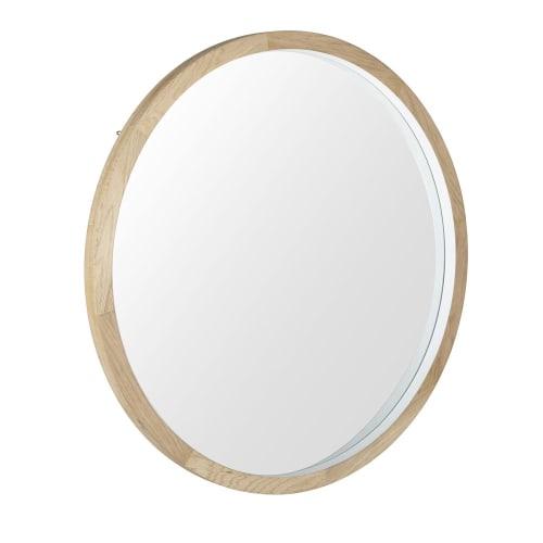 Runder Spiegel Mit Weißem Eichenholzrahmen D100