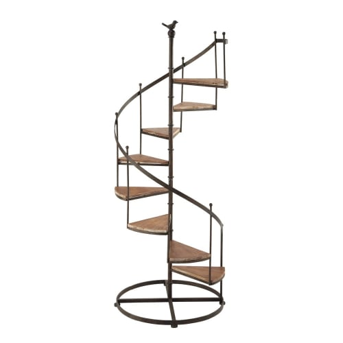 Rusted Look Metal And Fir Wood Staircase Shelf Unit Castellane Maisons Du Monde