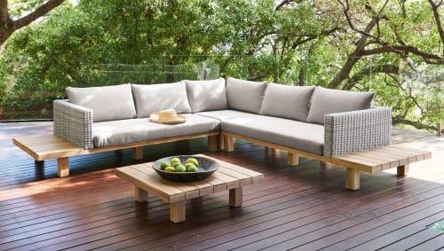 Salon de jardin 4/6 places en acacia massif et toile grise