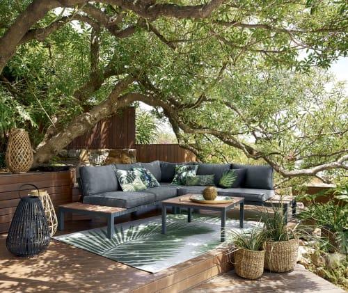 Salon de jardin 6 places gris anthracite et table basse