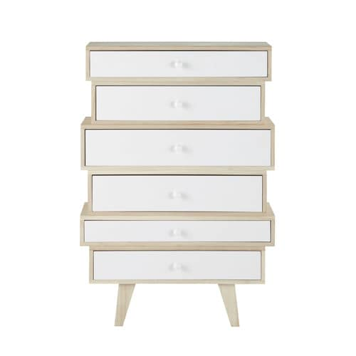 Scandinavian Paulownia 6-Drawer Semainier Chest in White Spring