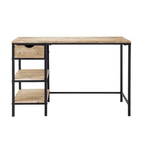 Schreibtisch im Industrial-Stil aus massivem Tannenholz und Metall, geweißt