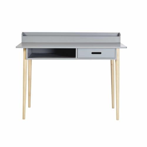 Schreibtisch mit 1 Schublade, grau mit Eichenholzfüßen