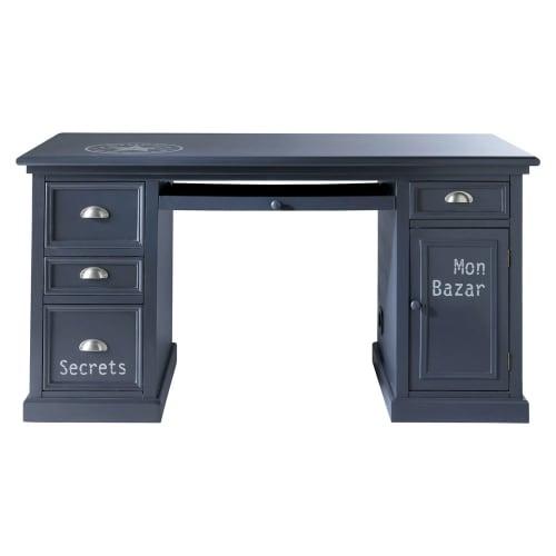 Schreibtisch mit 1 Tür und 4 Schubladen, graublaue