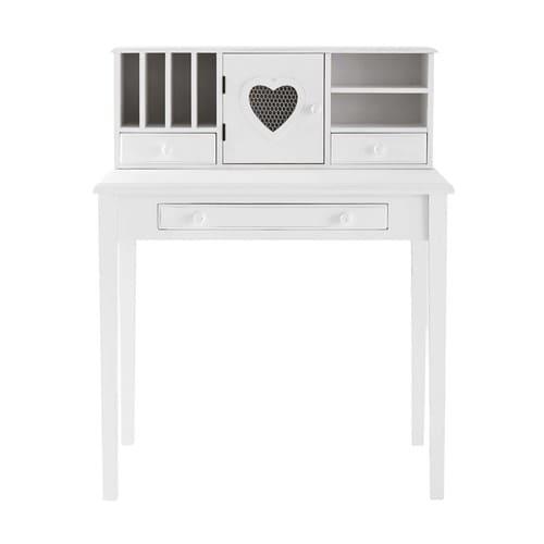 Schreibtisch-Sekretär mit 1 Tür und 3 Schubladen, weiß