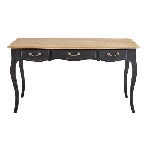 Schwarze Schreibtisch aus Mangoholz