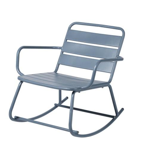 Sedia a dondolo da esterno in metallo blu grigio
