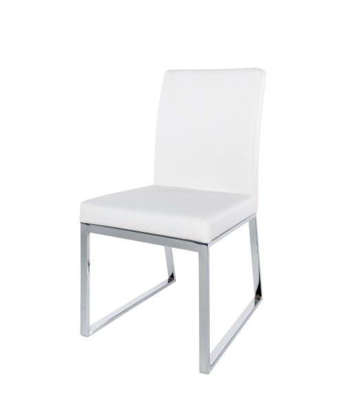 Sedia bianca in metallo cromato