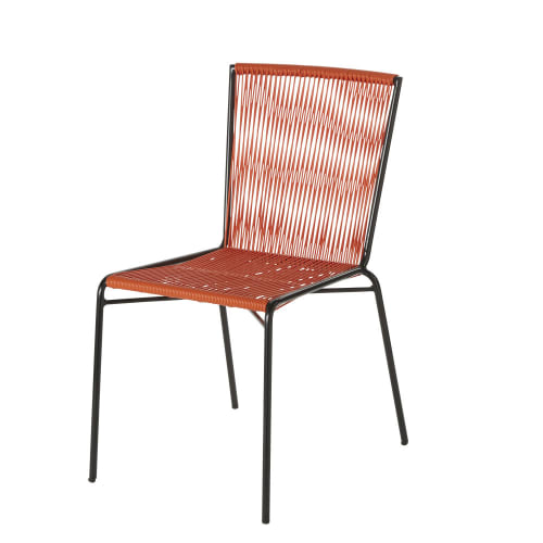 Sedie In Resina Colorate.Sedia Da Giardino In Resina Arancione E Metallo Nero Bogota