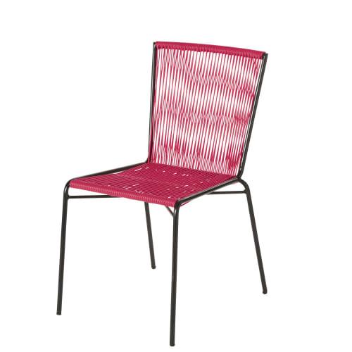 Sedie In Resina Colorate.Sedia Da Giardino In Resina Rosa E Metallo Nero Bogota Maisons
