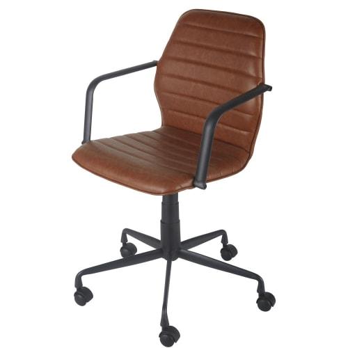 Sedia Da Ufficio Professionale Regolabile Con Ruote In Tessuto Spalmato Marrone Jane Business Maisons Du Monde